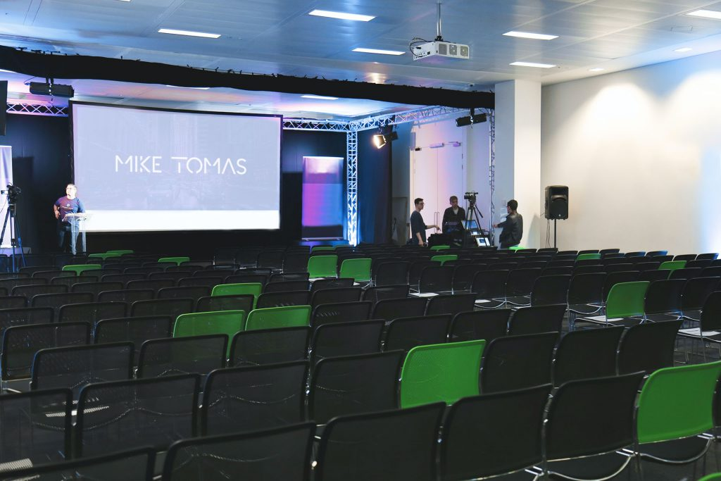 DJ Mike Tomas Key Note Speech set up with lights and speakers